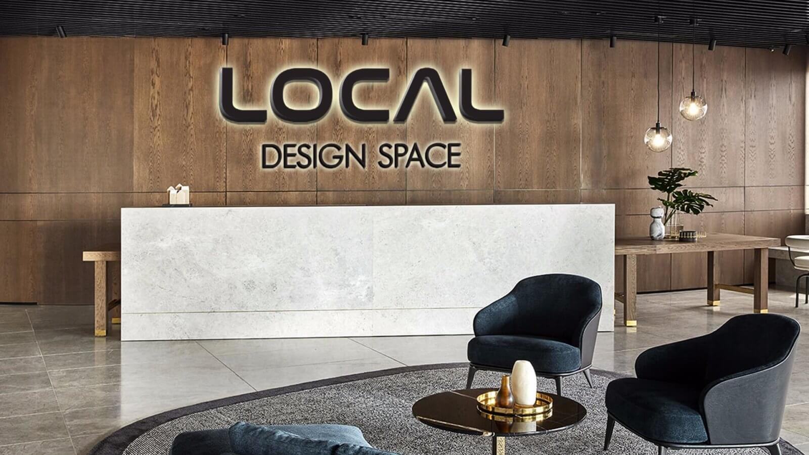אינטואיציה עיצוב חללי עבודה- שלט פנים גדול LOCAL DESIGN SPACE